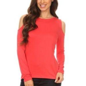 Tops - Rayon Blend Knit Coral Cold Shoulder Top Shirt